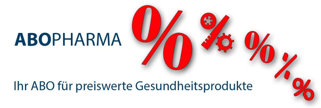 Rote Prozentsymbole und ein Werbespruch für abopharma.de