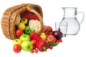 Ein Obst- und Gemüsekorb vor einer Karaffe Wasser.